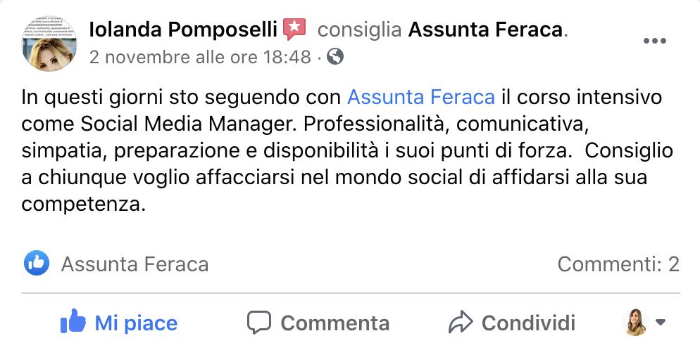 Recensione Corso Social Media Manager Assunta Feraca