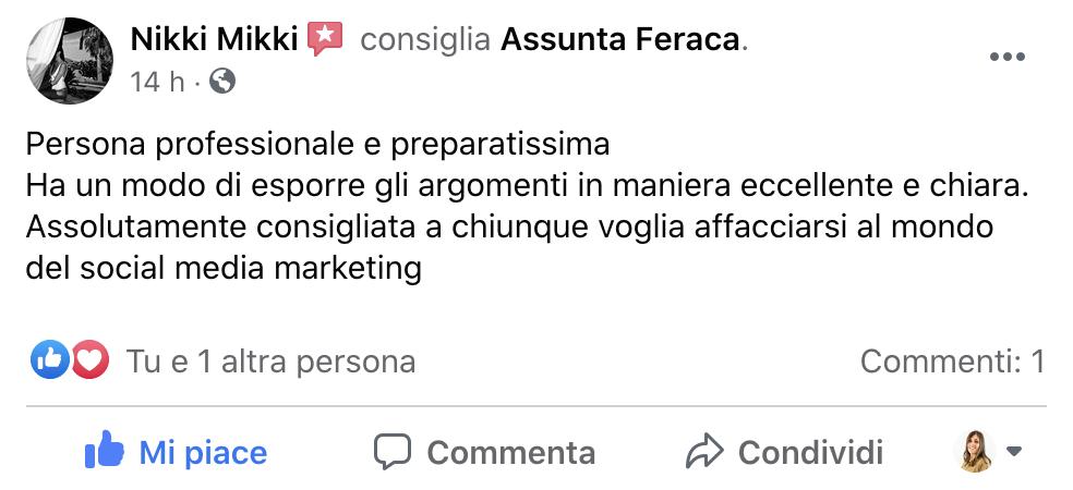 Recensione Assunta Feraca Consulente Docente Digital Marketing