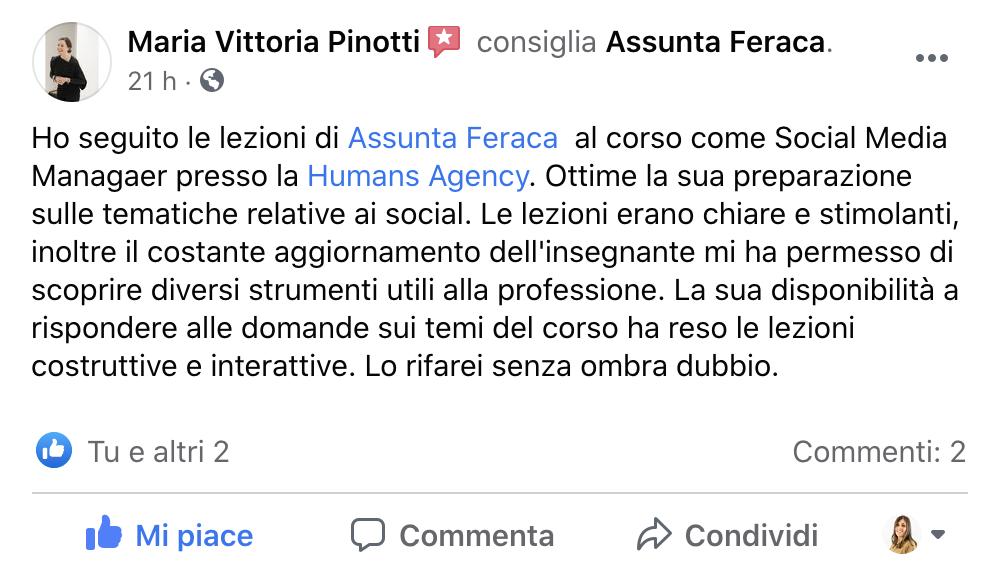 Recensione Corso Digital Marketing Assunta Feraca